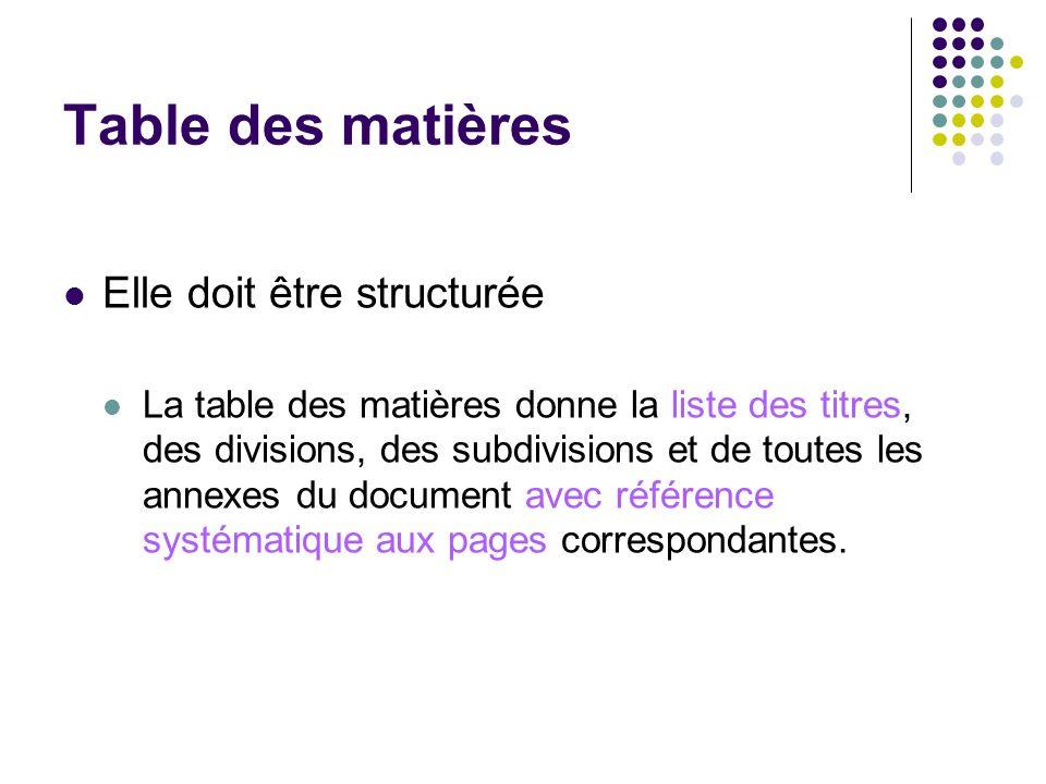 Table des matières Elle doit être structurée La table des matières donne la liste des titres, des divisions, des subdivisions et de toutes les annexes
