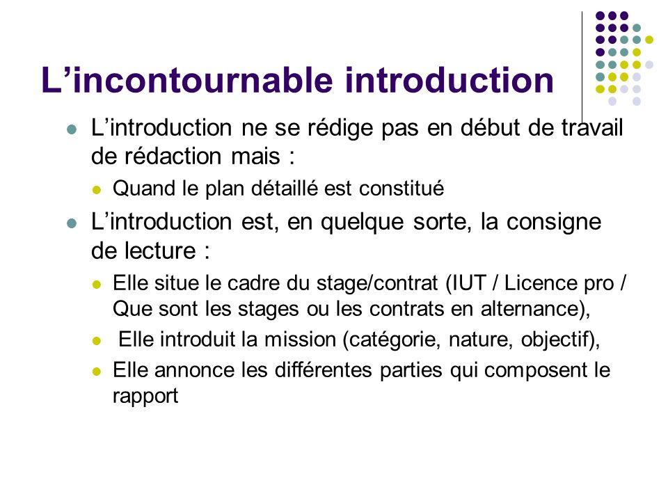 Lincontournable introduction Lintroduction ne se rédige pas en début de travail de rédaction mais : Quand le plan détaillé est constitué Lintroduction