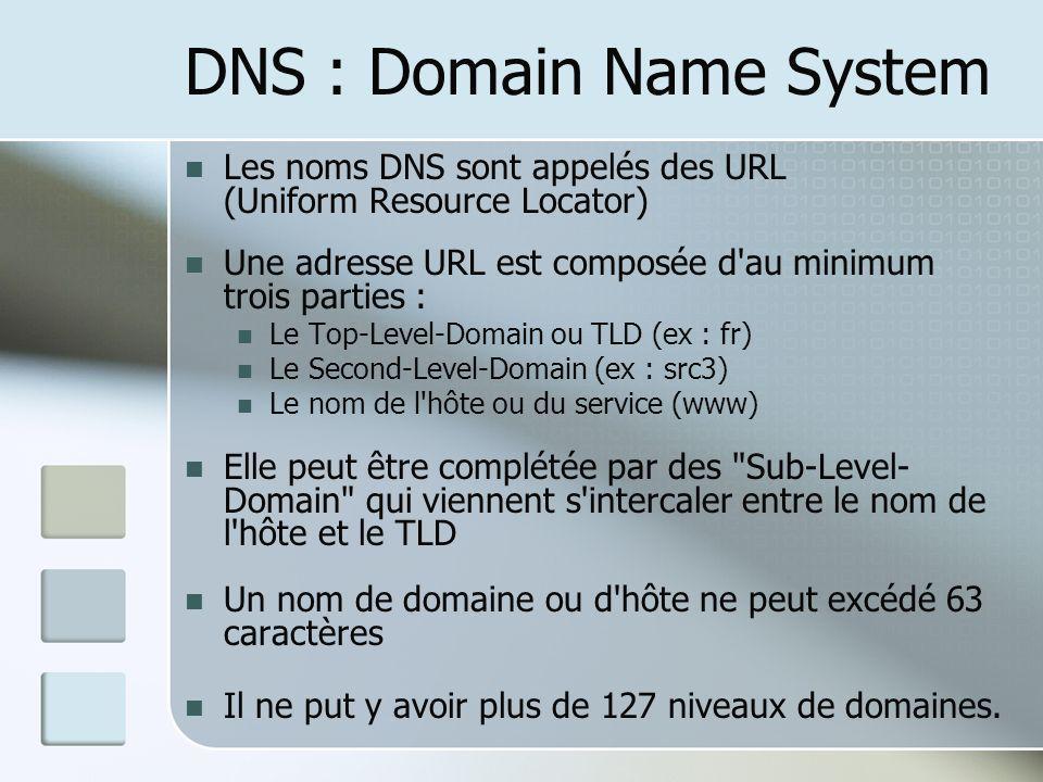 DNS : Domain Name System Les noms DNS sont appelés des URL (Uniform Resource Locator) Une adresse URL est composée d'au minimum trois parties : Le Top