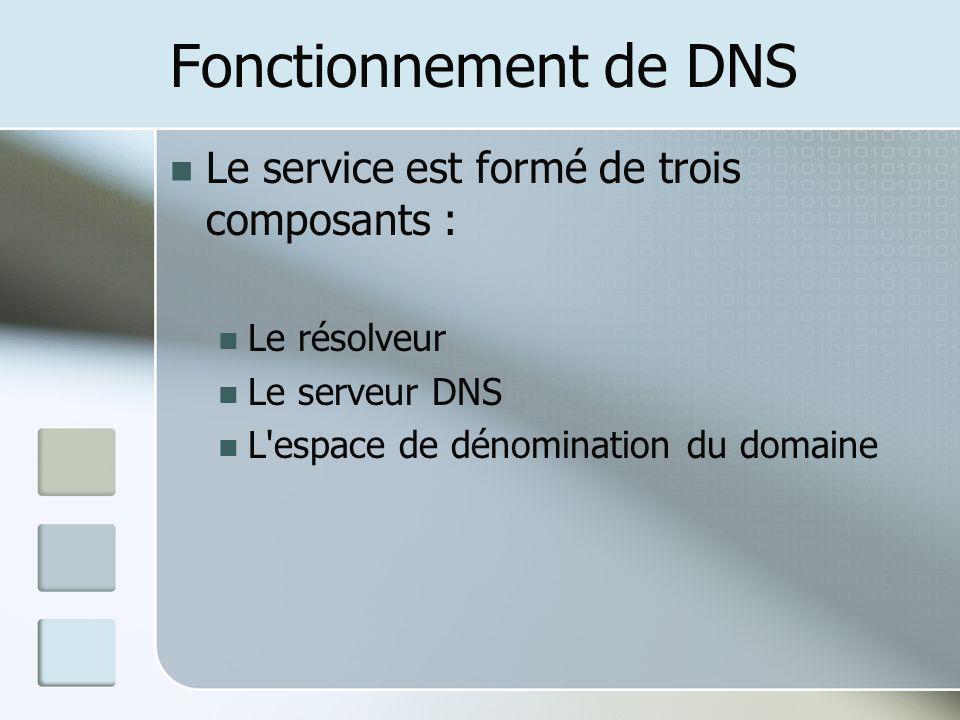 Fonctionnement de DNS Le service est formé de trois composants : Le résolveur Le serveur DNS L'espace de dénomination du domaine