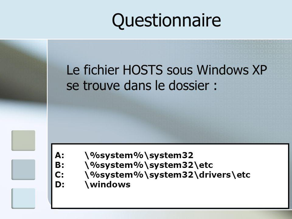 Questionnaire Le fichier HOSTS sous Windows XP se trouve dans le dossier : A: \%system%\system32 B: \%system%\system32\etc C: \%system%\system32\drive