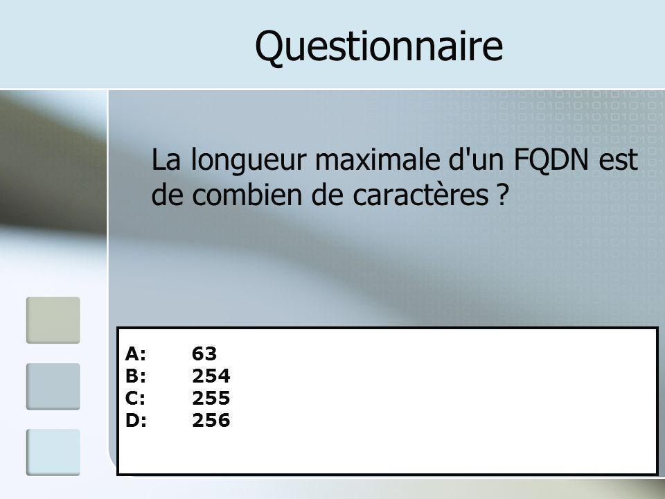 Questionnaire La longueur maximale d'un FQDN est de combien de caractères ? A: 63 B: 254 C: 255 D: 256