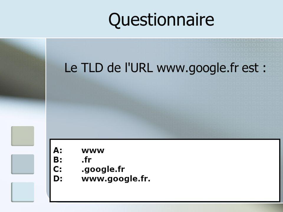 Questionnaire Le TLD de l'URL www.google.fr est : A: www B:.fr C:.google.fr D: www.google.fr.