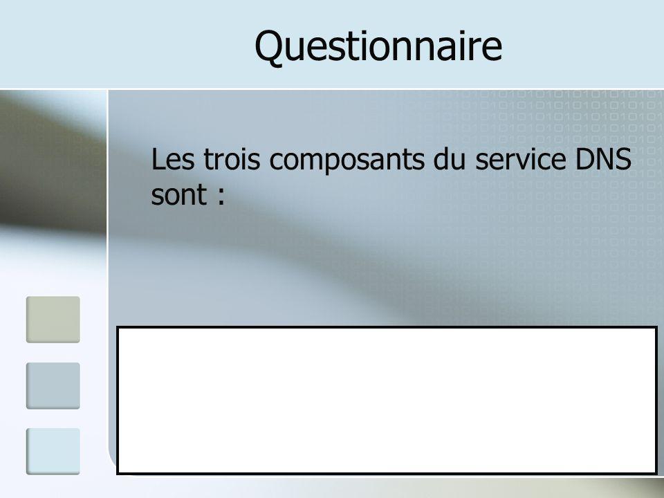 Questionnaire Les trois composants du service DNS sont : A: Le résolveur B: Le serveur DNS C: L'espace de dénomination du domaine