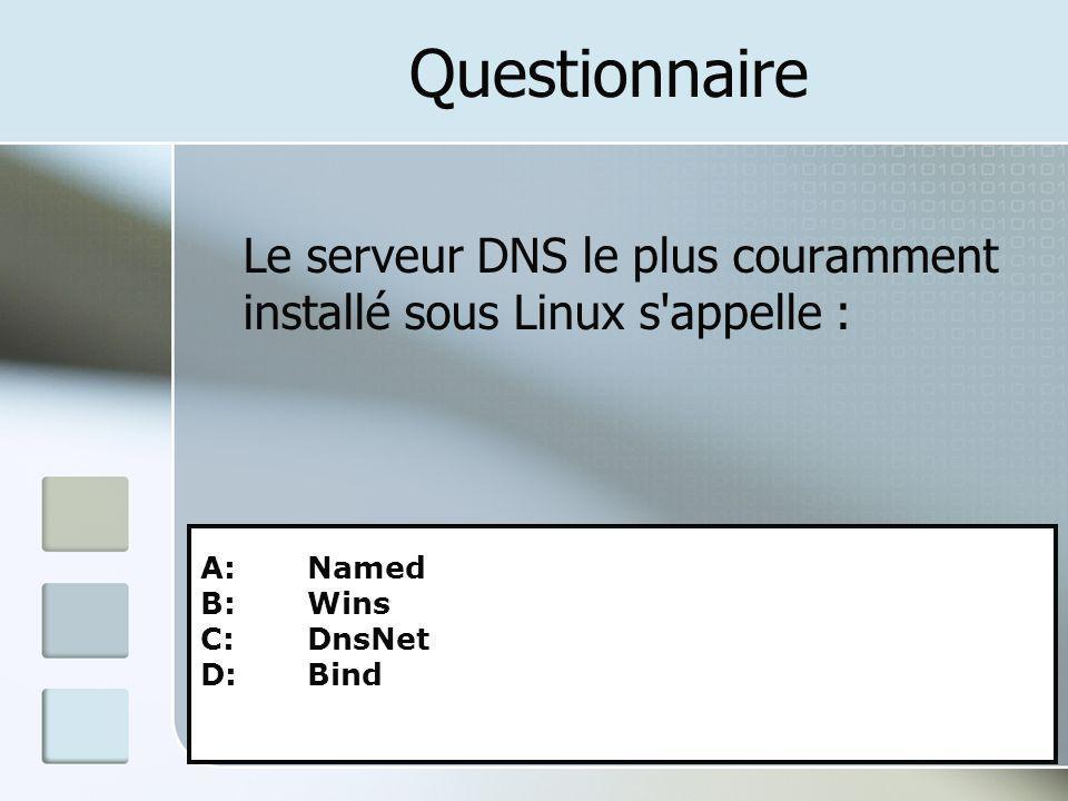Questionnaire Le serveur DNS le plus couramment installé sous Linux s'appelle : A: Named B: Wins C: DnsNet D: Bind