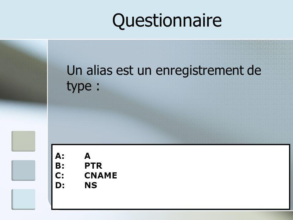 Questionnaire Un alias est un enregistrement de type : A: A B: PTR C: CNAME D: NS