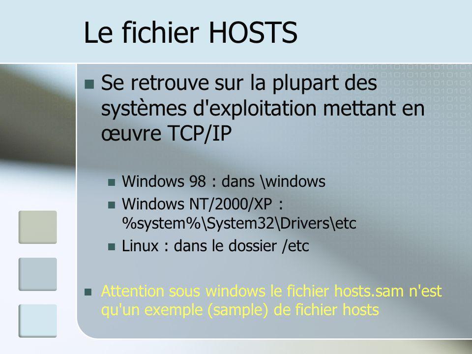 Le fichier HOSTS Se retrouve sur la plupart des systèmes d'exploitation mettant en œuvre TCP/IP Windows 98 : dans \windows Windows NT/2000/XP : %syste