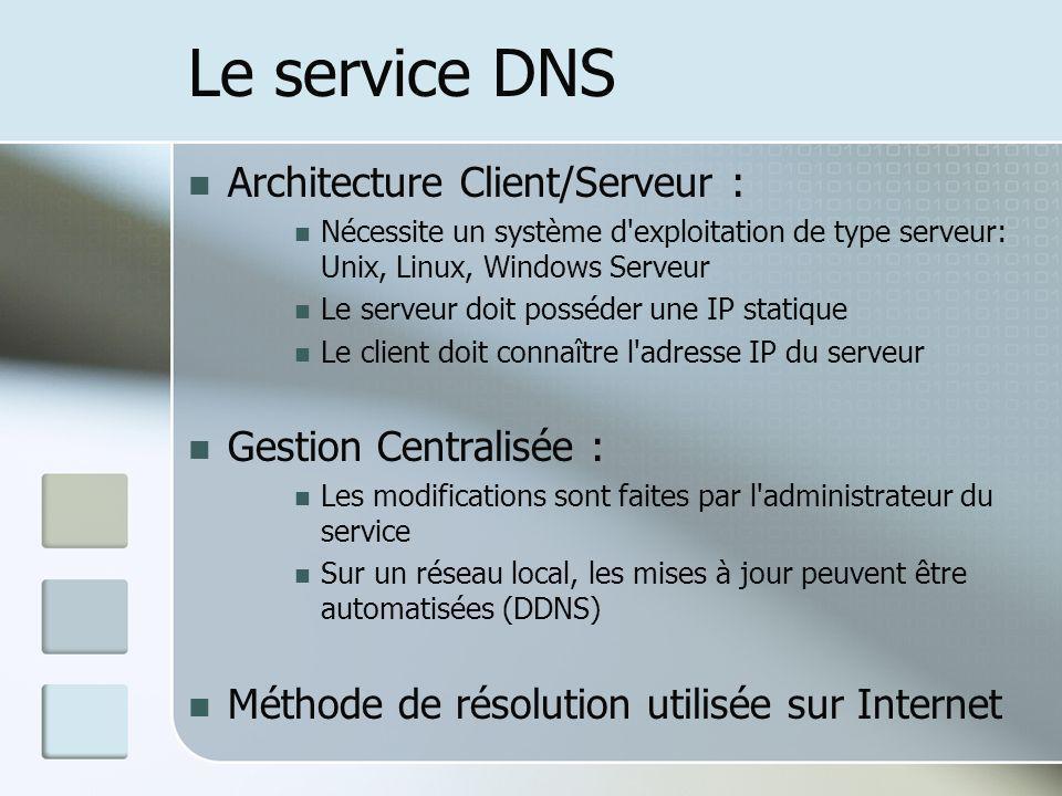 Le service DNS Architecture Client/Serveur : Nécessite un système d'exploitation de type serveur: Unix, Linux, Windows Serveur Le serveur doit posséde