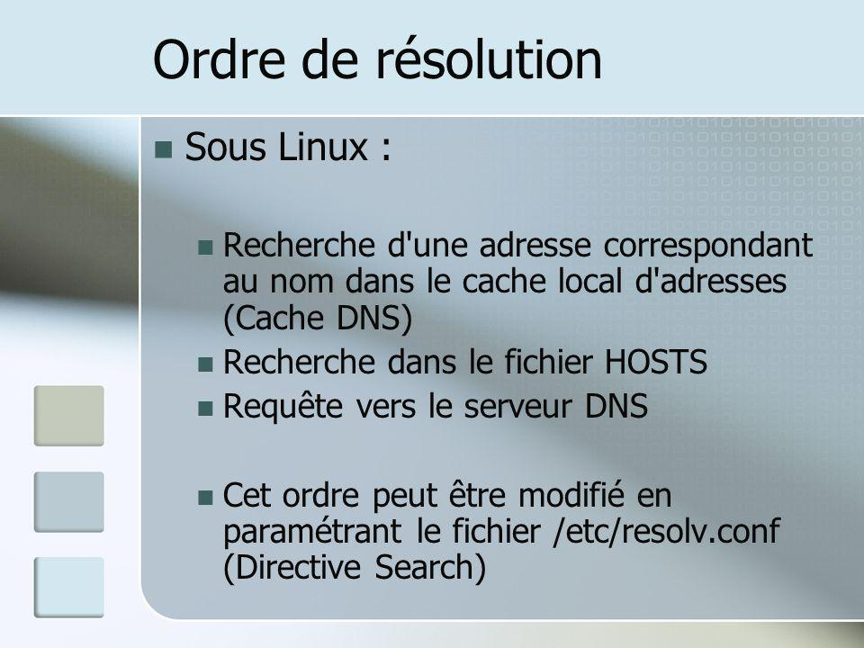 Ordre de résolution Sous Linux : Recherche d'une adresse correspondant au nom dans le cache local d'adresses (Cache DNS) Recherche dans le fichier HOS