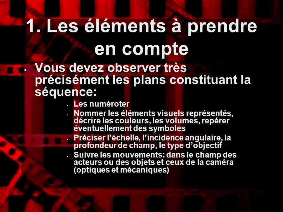 1. Les éléments à prendre en compte Vous devez observer très précisément les plans constituant la séquence: Les numéroter Nommer les éléments visuels