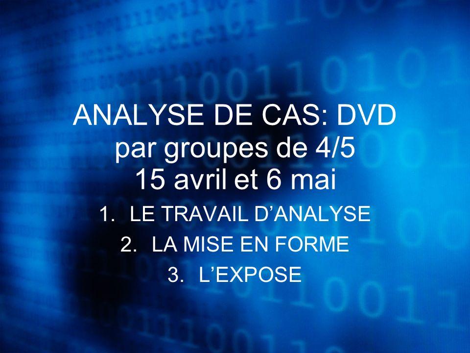 ANALYSE DE CAS: DVD par groupes de 4/5 15 avril et 6 mai 1.LE TRAVAIL DANALYSE 2.LA MISE EN FORME 3.LEXPOSE