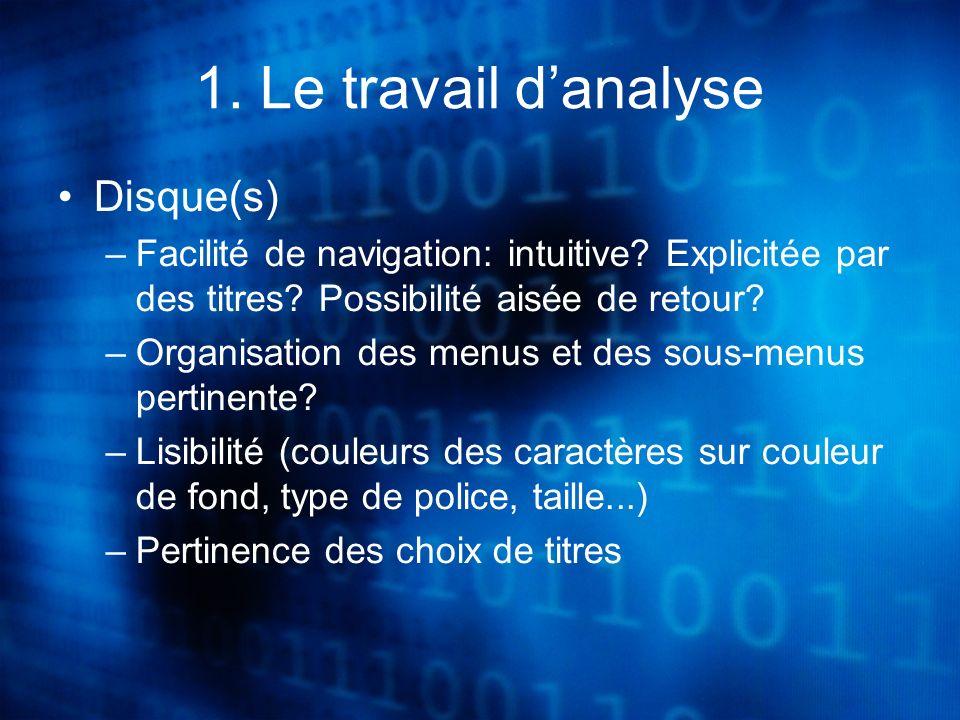1.Le travail danalyse Disque(s) –Facilité de navigation: intuitive.