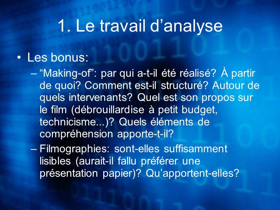 1. Le travail danalyse Les bonus: –Making-of: par qui a-t-il été réalisé.