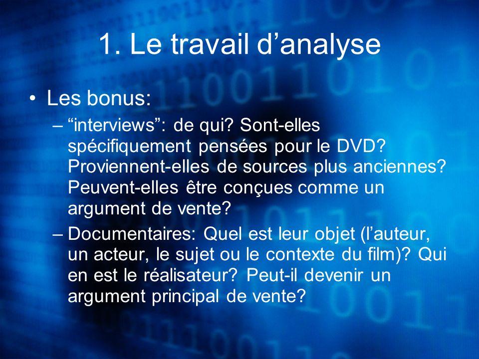 1. Le travail danalyse Les bonus: –interviews: de qui.