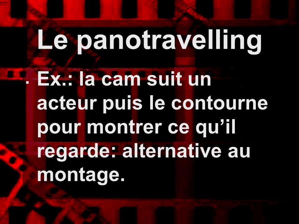 Le panotravelling Ex.: la cam suit un acteur puis le contourne pour montrer ce quil regarde: alternative au montage.