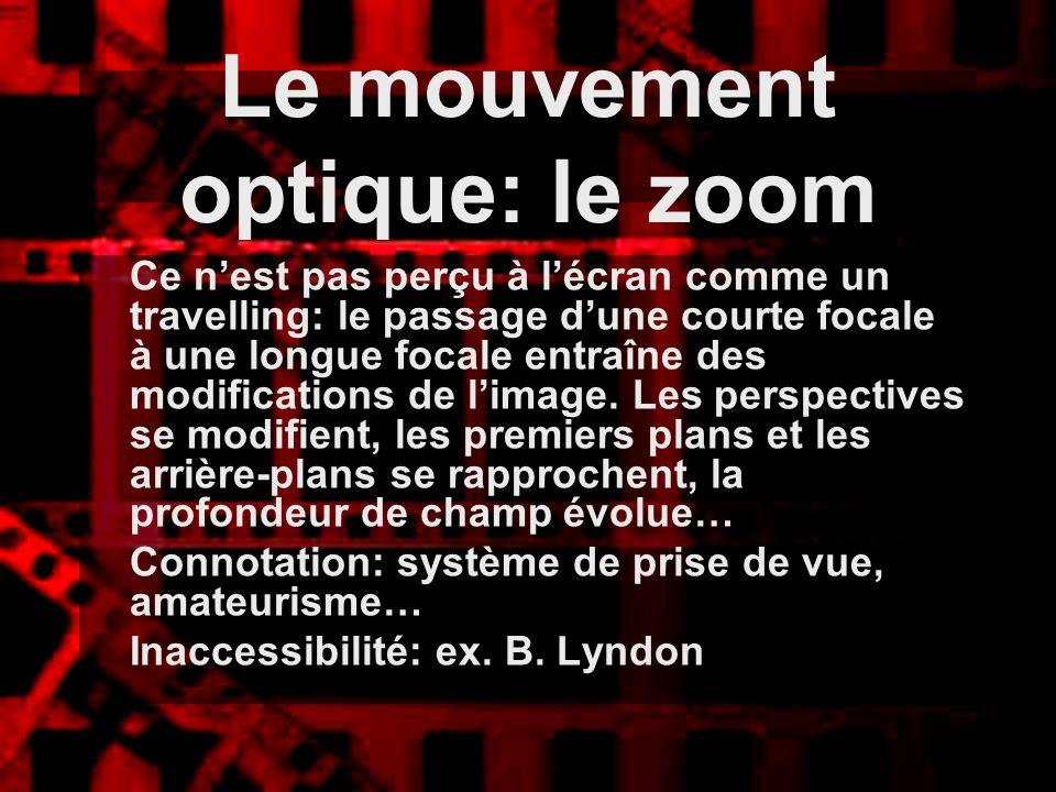 Le mouvement optique: le zoom Ce nest pas perçu à lécran comme un travelling: le passage dune courte focale à une longue focale entraîne des modificat