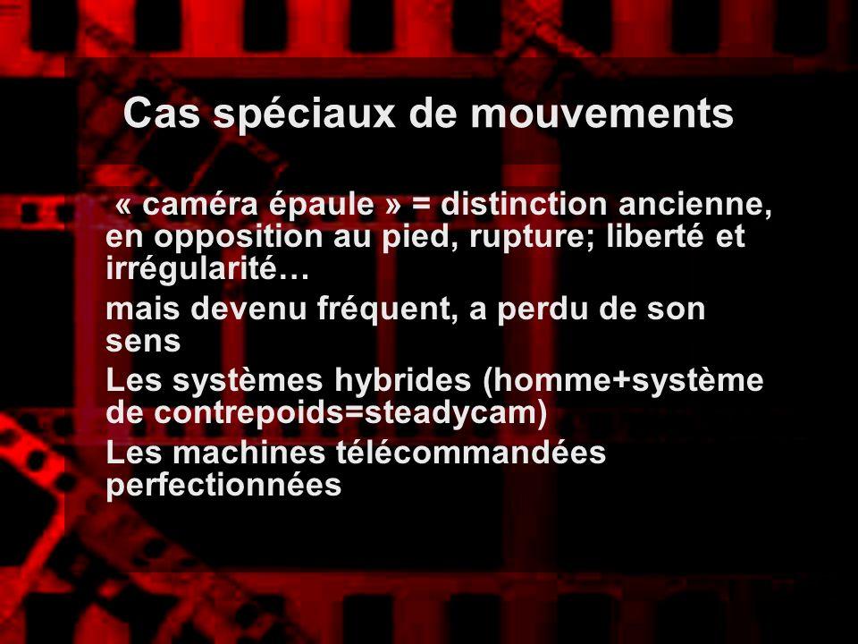 Cas spéciaux de mouvements « caméra épaule » = distinction ancienne, en opposition au pied, rupture; liberté et irrégularité… mais devenu fréquent, a