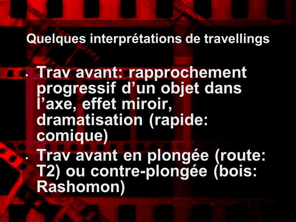 Quelques interprétations de travellings Trav avant: rapprochement progressif dun objet dans laxe, effet miroir, dramatisation (rapide: comique) Trav a