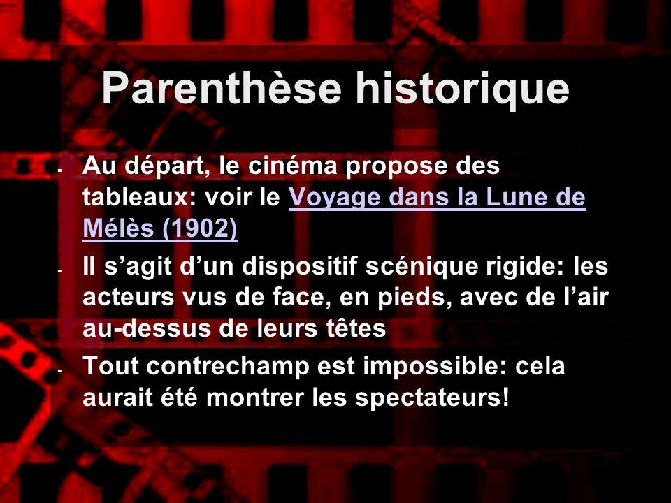 Parenthèse historique Au départ, le cinéma propose des tableaux: voir le Voyage dans la Lune de Mélès (1902)Voyage dans la Lune de Mélès (1902) Il sag