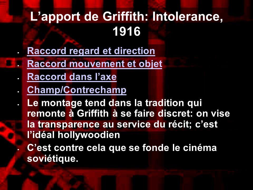 Lapport de Griffith: Intolerance, 1916 Raccord regard et direction Raccord mouvement et objet Raccord dans laxe Champ/Contrechamp Le montage tend dans