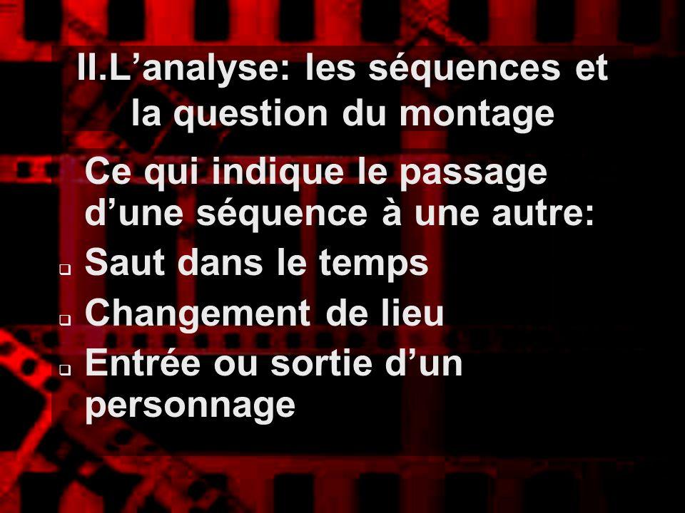 II.Lanalyse: les séquences et la question du montage Ce qui indique le passage dune séquence à une autre: Saut dans le temps Changement de lieu Entrée