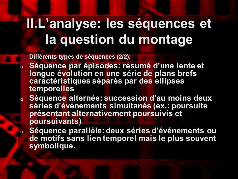 II.Lanalyse: les séquences et la question du montage Différents types de séquences (2/2): Séquence par épisodes: résumé dune lente et longue évolution