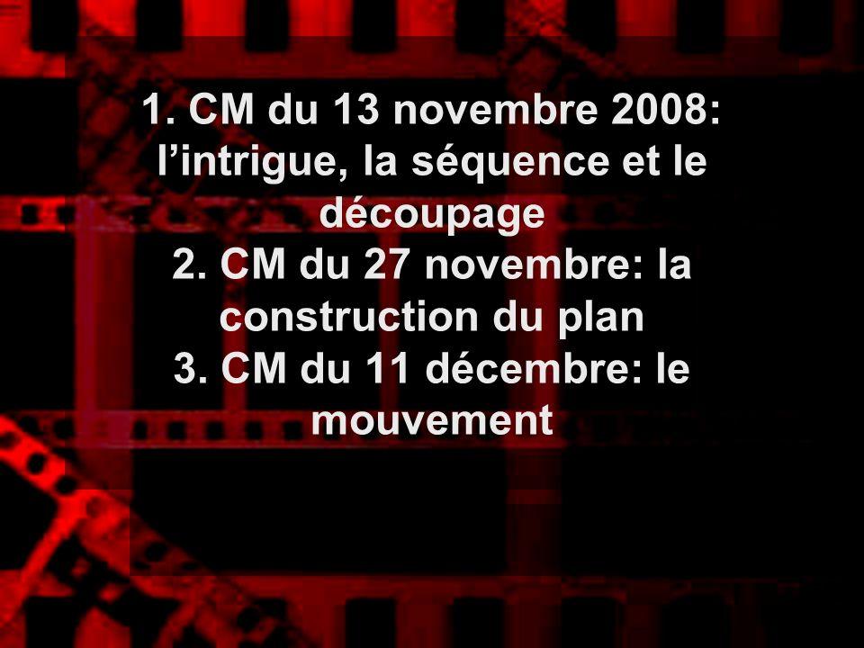 1. CM du 13 novembre 2008: lintrigue, la séquence et le découpage 2. CM du 27 novembre: la construction du plan 3. CM du 11 décembre: le mouvement