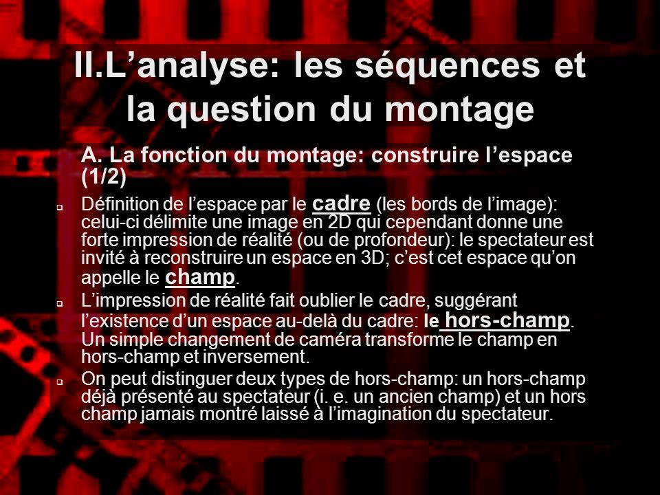 II.Lanalyse: les séquences et la question du montage A. La fonction du montage: construire lespace (1/2) Définition de lespace par le cadre (les bords