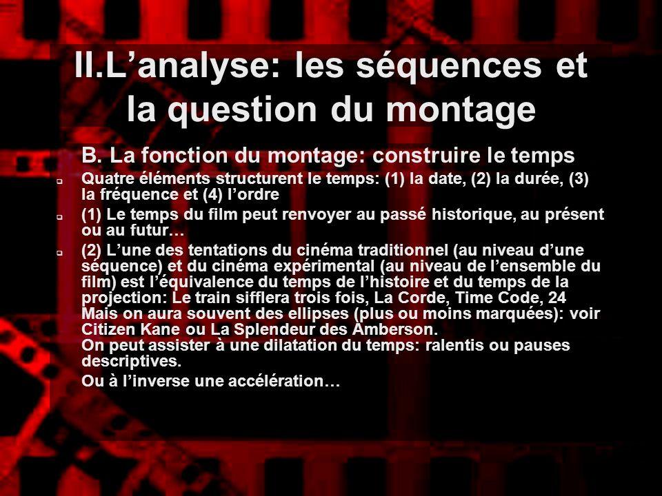 II.Lanalyse: les séquences et la question du montage B. La fonction du montage: construire le temps Quatre éléments structurent le temps: (1) la date,