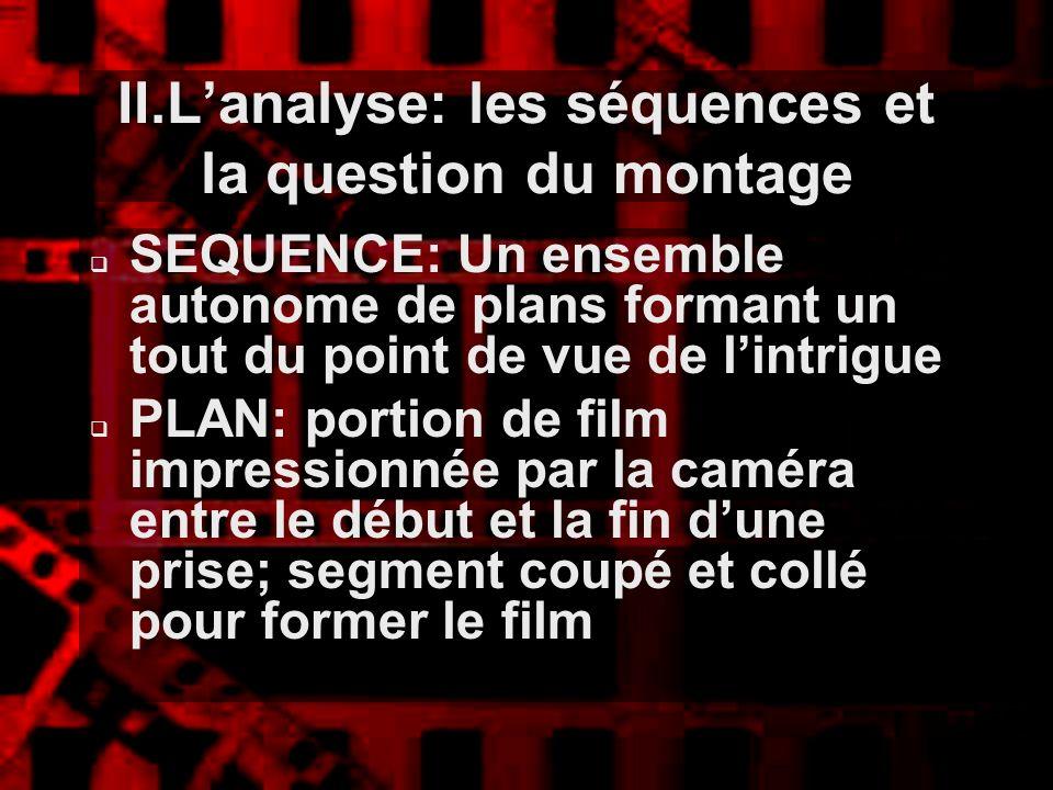 II.Lanalyse: les séquences et la question du montage SEQUENCE: Un ensemble autonome de plans formant un tout du point de vue de lintrigue PLAN: portio