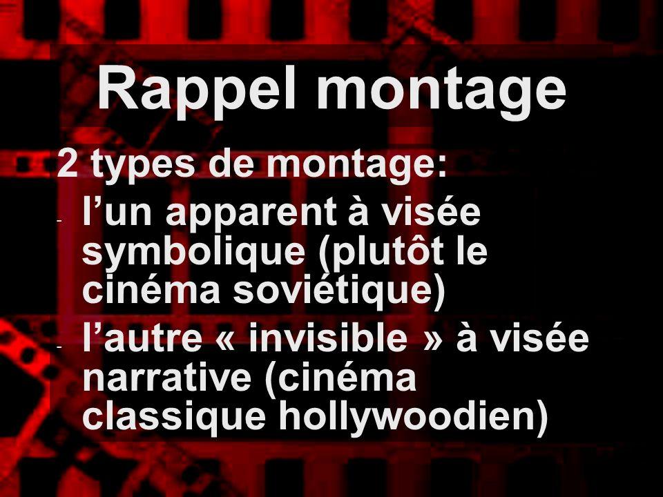 Rappel montage 2 types de montage: - lun apparent à visée symbolique (plutôt le cinéma soviétique) - lautre « invisible » à visée narrative (cinéma cl