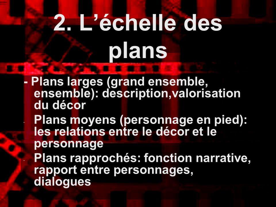 - Plans larges (grand ensemble, ensemble): description,valorisation du décor - Plans moyens (personnage en pied): les relations entre le décor et le p