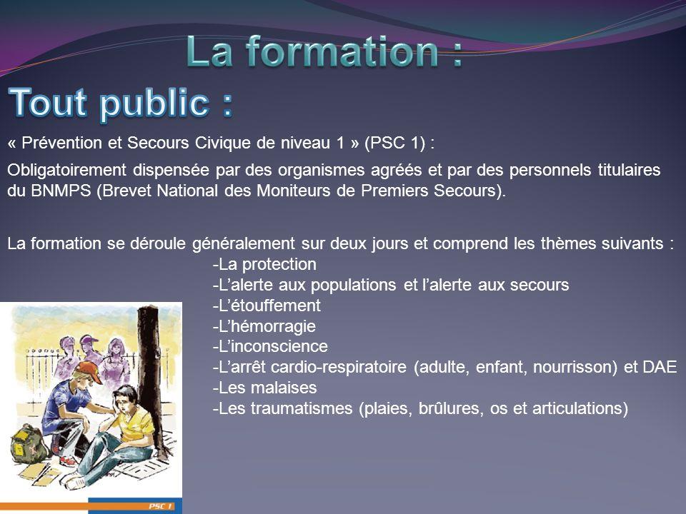 « Prévention et Secours Civique de niveau 1 » (PSC 1) : Obligatoirement dispensée par des organismes agréés et par des personnels titulaires du BNMPS (Brevet National des Moniteurs de Premiers Secours).