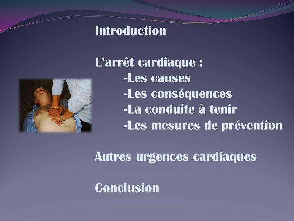 Introduction Larrêt cardiaque : -Les causes -Les conséquences -La conduite à tenir -Les mesures de prévention Autres urgences cardiaques Conclusion