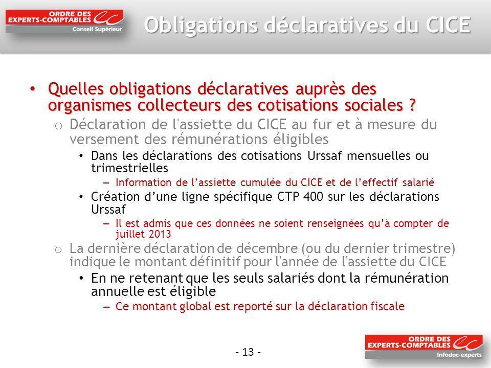 - 13 - Obligations déclaratives du CICE Quelles obligations déclaratives auprès des organismes collecteurs des cotisations sociales ? Quelles obligati