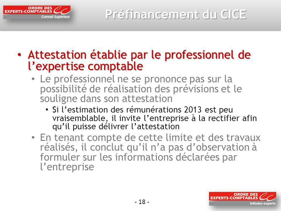 - 18 - Préfinancement du CICE Attestation établie par le professionnel de lexpertise comptable Attestation établie par le professionnel de lexpertise