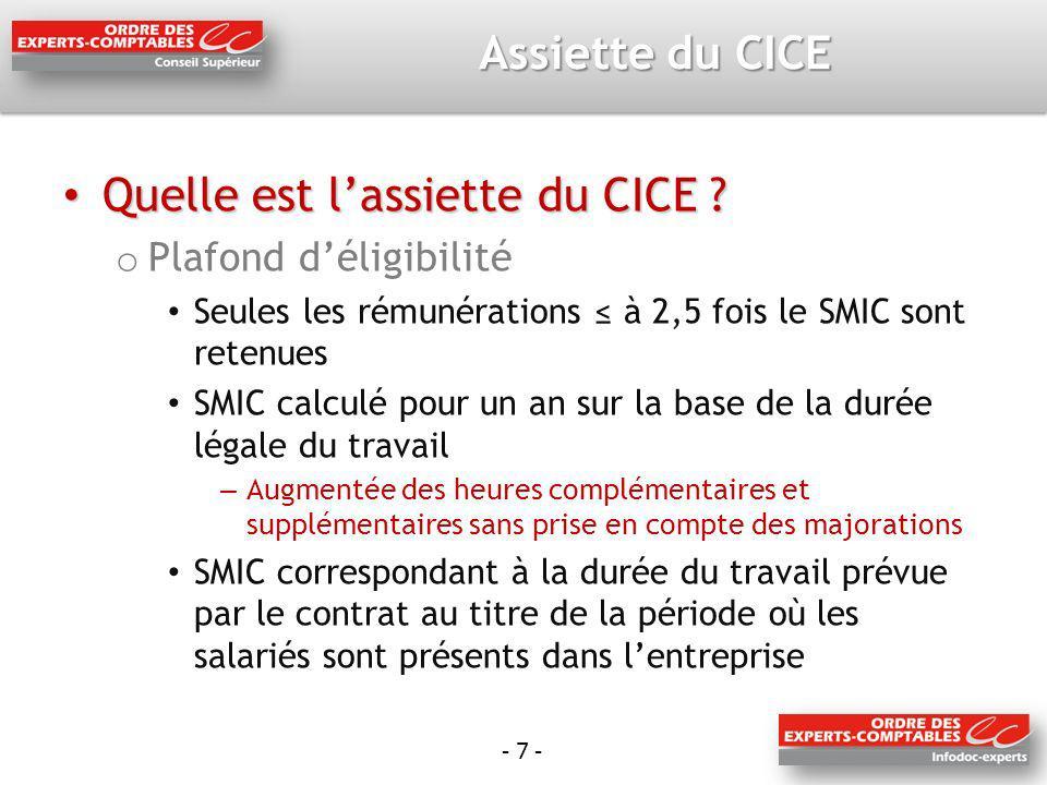 - 7 - Assiette du CICE Quelle est lassiette du CICE .
