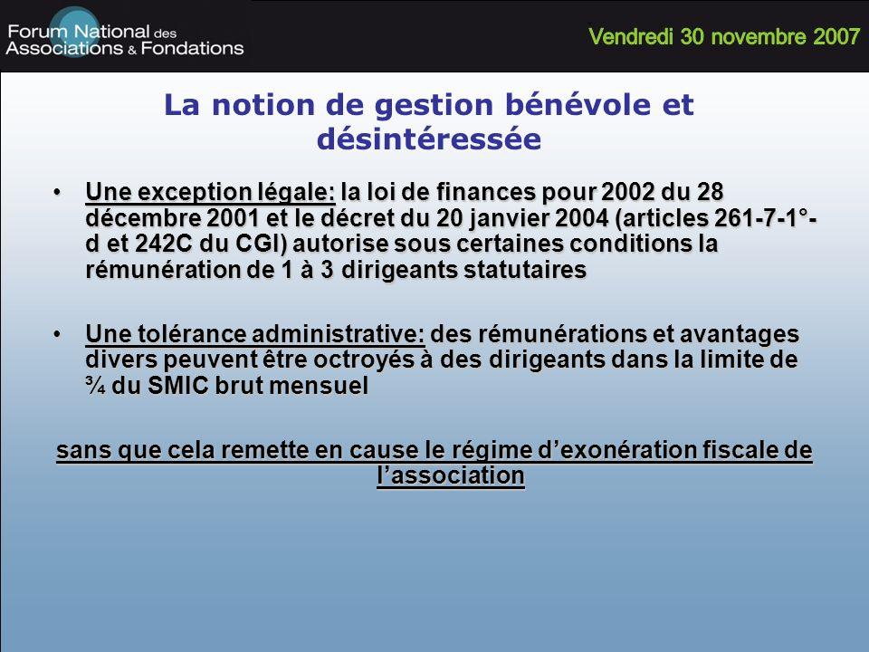 La notion de gestion bénévole et désintéressée Une exception légale: la loi de finances pour 2002 du 28 décembre 2001 et le décret du 20 janvier 2004