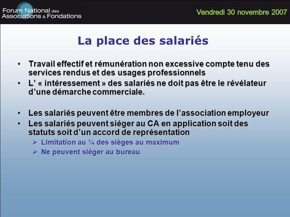 La place des salariés Travail effectif et rémunération non excessive compte tenu des services rendus et des usages professionnelsTravail effectif et r