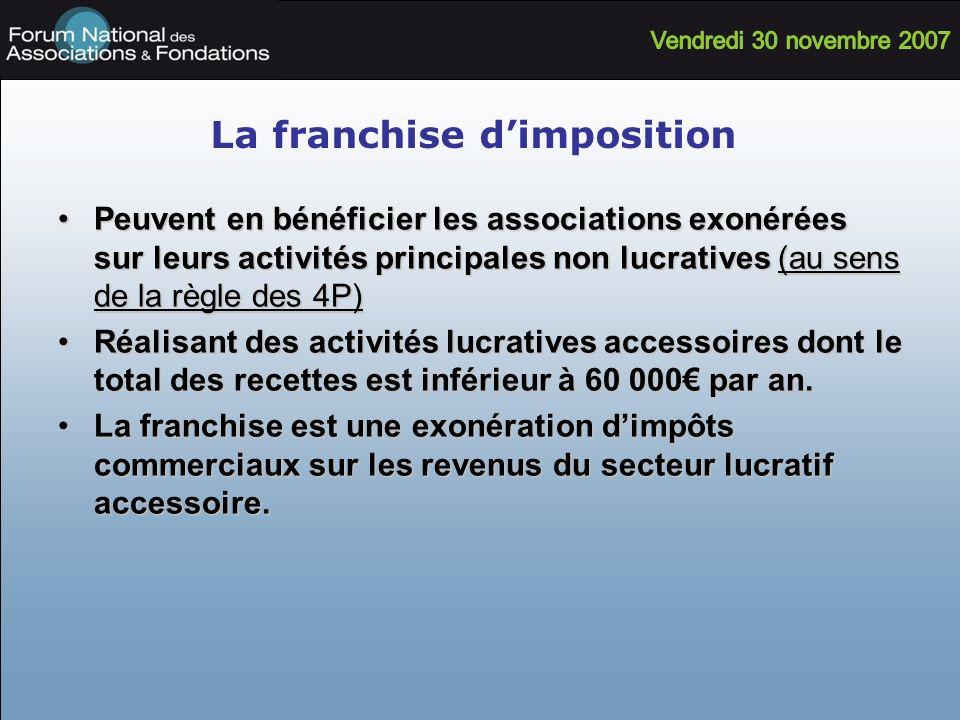 La franchise dimposition Peuvent en bénéficier les associations exonérées sur leurs activités principales non lucratives (au sens de la règle des 4P)P