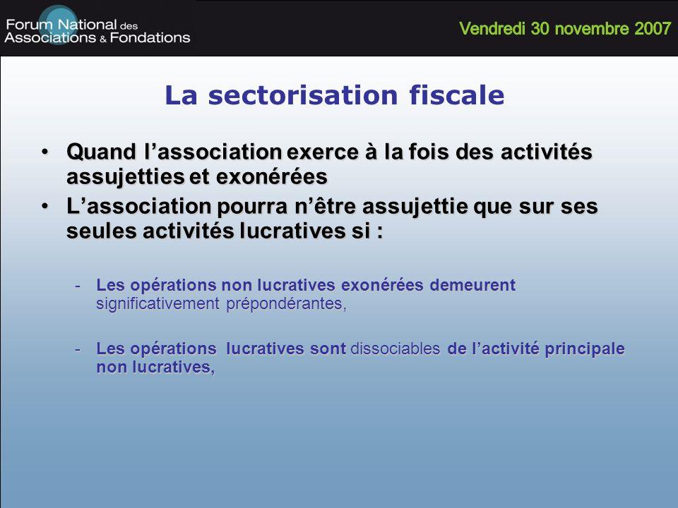 La sectorisation fiscale Quand lassociation exerce à la fois des activités assujetties et exonéréesQuand lassociation exerce à la fois des activités a