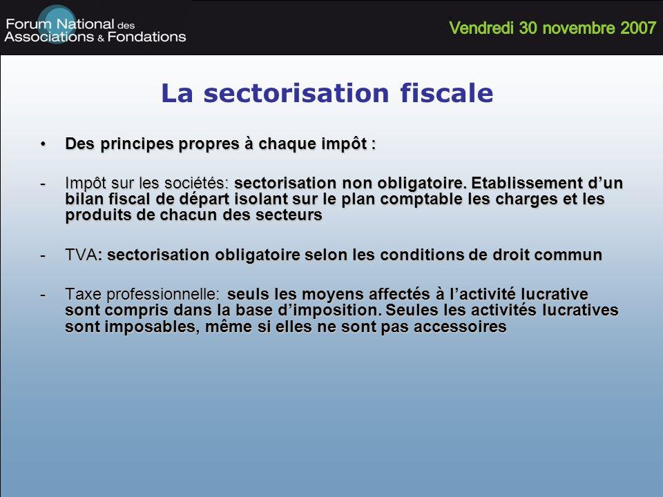 La sectorisation fiscale Des principes propres à chaque impôt :Des principes propres à chaque impôt : -Impôt sur les sociétés: sectorisation non oblig