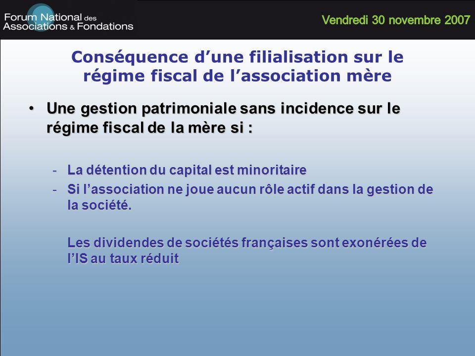 Conséquence dune filialisation sur le régime fiscal de lassociation mère Une gestion patrimoniale sans incidence sur le régime fiscal de la mère si :U