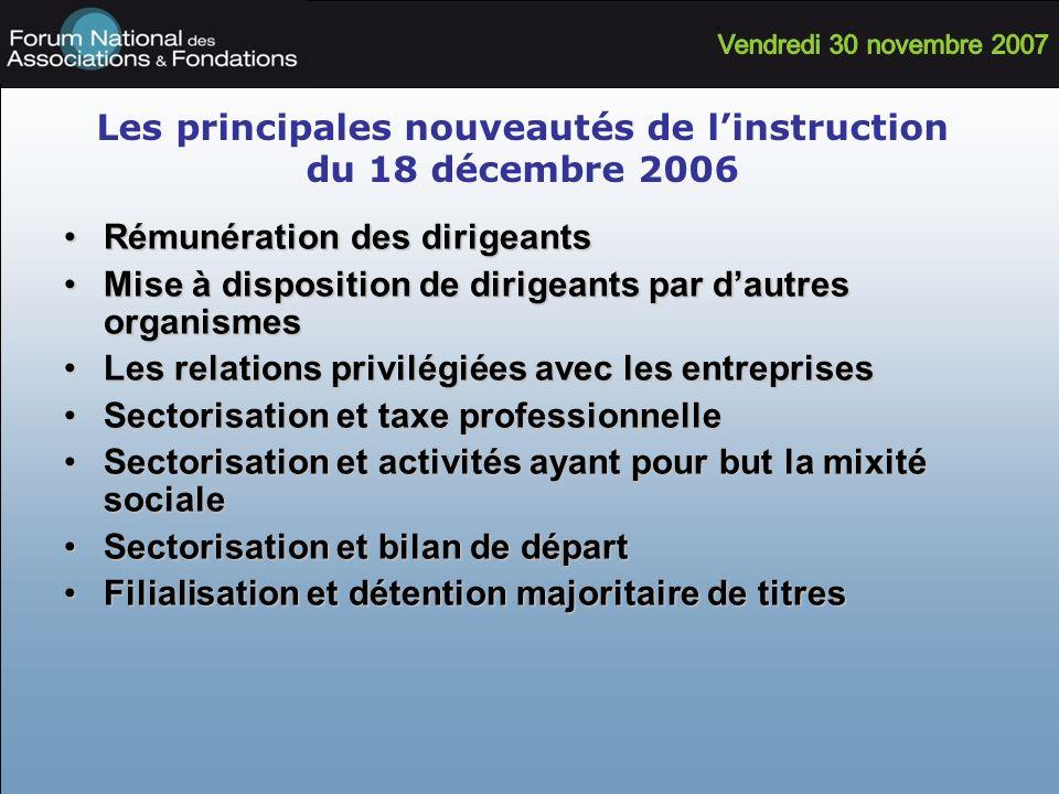 Les principales nouveautés de linstruction du 18 décembre 2006 Rémunération des dirigeantsRémunération des dirigeants Mise à disposition de dirigeants