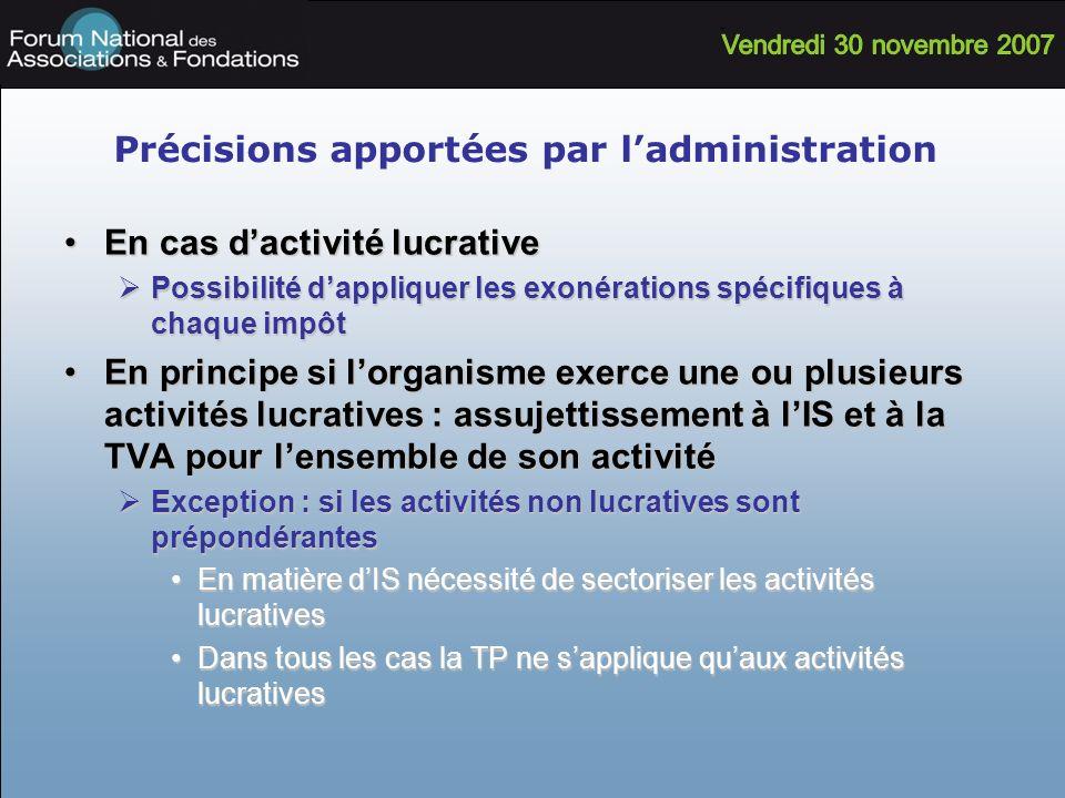 Précisions apportées par ladministration En cas dactivité lucrativeEn cas dactivité lucrative Possibilité dappliquer les exonérations spécifiques à ch
