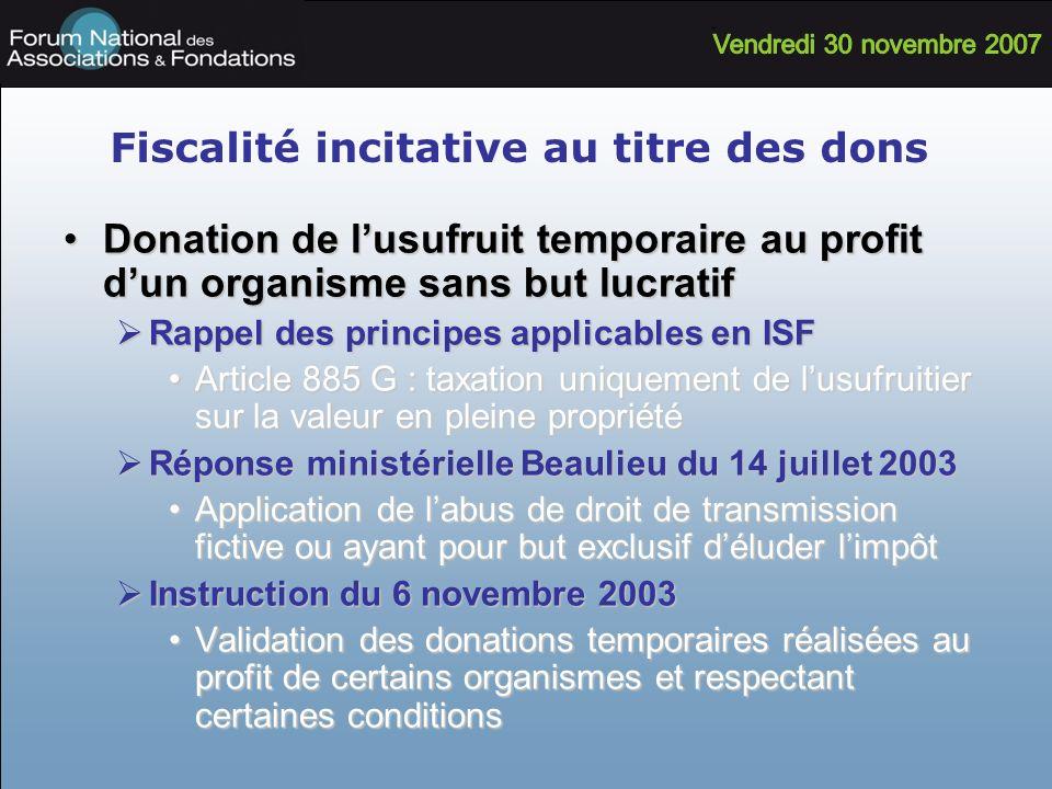 Fiscalité incitative au titre des dons Donation de lusufruit temporaire au profit dun organisme sans but lucratifDonation de lusufruit temporaire au p