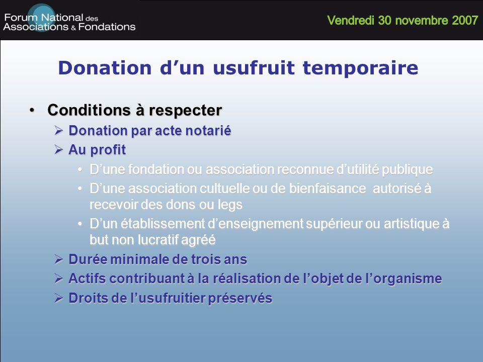 Donation dun usufruit temporaire Conditions à respecterConditions à respecter Donation par acte notarié Donation par acte notarié Au profit Au profit