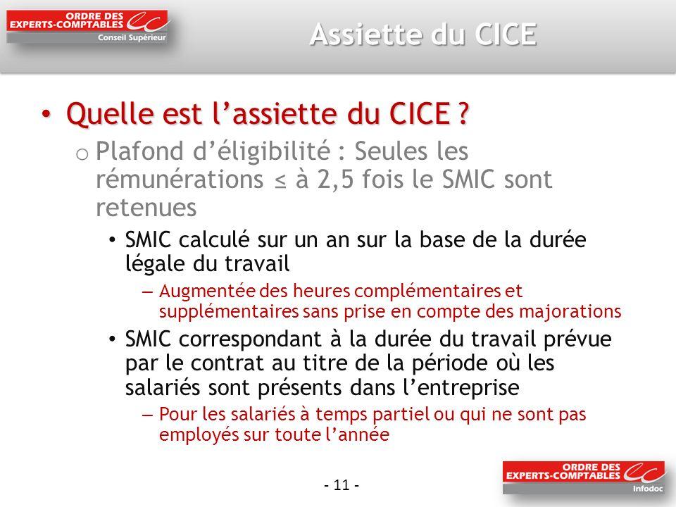- 11 - Assiette du CICE Quelle est lassiette du CICE .