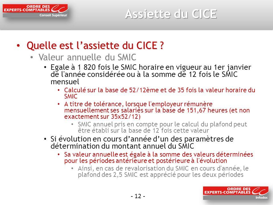 - 12 - Assiette du CICE Quelle est lassiette du CICE .
