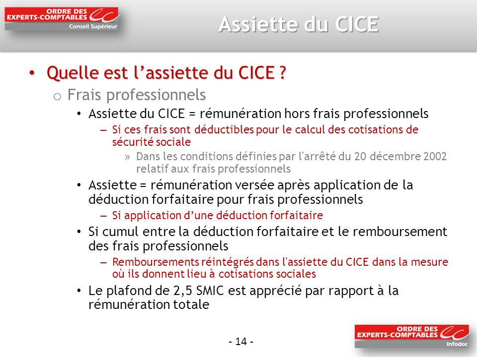 - 14 - Assiette du CICE Quelle est lassiette du CICE .